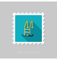 Swimming pool flat stamp Summer Vacation vector image