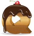 Cake letter Q- birthday font vector image