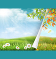 Change of seasons from summer to autumn vector image