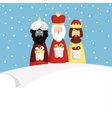 Christmas greeting card invitation with three vector image