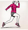 female runner sketch vector image