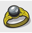 Gold ring with black pearls closeup vector image