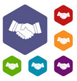 handshake icons set vector image