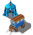 Isometric Gypsy wagon and tent vector image