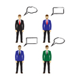 Male figures icons avatars with speech bubbles vector image