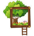 frame design with tree and ladder vector image