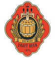 label for draft beer with barrel and coat of arms vector image vector image