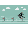 Businessman jumping over hurdle vector image