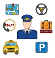 Taxi driver profession and service icons vector image vector image