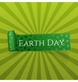 Earth Day realistic curved green Ribbon vector image