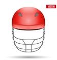 Red Cricket Helmet Front View vector image