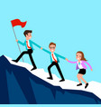 business people climb the mountain vector image