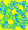 pattern with lemon and tropical leaves vector image