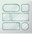 transparent glass button set square round vector image