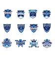 set of ice hockey badges stickers emblems vector image