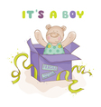 Baby Bear in a Box - Baby Shower or Arrival Card vector image vector image