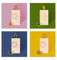 Set of flat icons with long shadow wedding Candle vector image