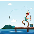 fishing in the sea vector image