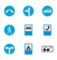 road sign icons set flat style vector image