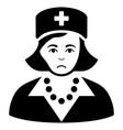 sad nurse black icon vector image