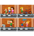 Children haning out on the sidewalk vector image vector image
