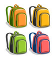 set colorful school backpacks vector image
