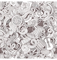 Cartoon hand-drawn picnic doodles seamless pattern vector image