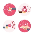 Flat background with hand vector image