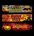 halloween set of horizontal grunge banners vector image