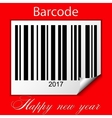 New year 2017 barcode on red background vector image