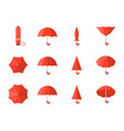 red umbrella icon in various style vector image