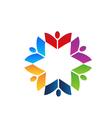 Teamwork books colorful logo vector image