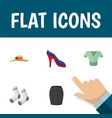 Flat icon clothes set of elegant headgear heeled vector image