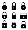 padlock set in black color vector image