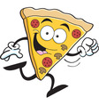 Cartoon slice of pizza running vector image