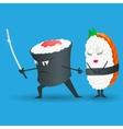 Samurai sushi cartoon character vector image