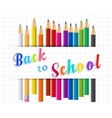 Back to school background with Coloring pencils vector image