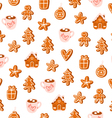 Gingerbread christmas figures seamless pattern vector image
