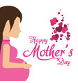 happy mothers day pregnancy mom with hearts vector image