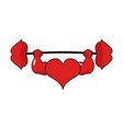 heart strong love powerful sport barbell kiss vector image