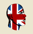 sketch of a face with united kingdom insignia vector image