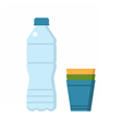 Water Bottle and Cups vector image