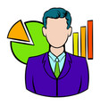 businessman and graphs behind him icon vector image
