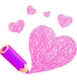 Pink cartoon pencil with doodle heart vector image vector image