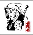 black and white warrior woman vector image