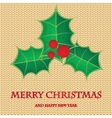 Christmas holly berry tree branch on pastel vector image