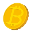 Gold coin with Bitcoin sign icon carton style vector image