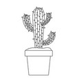 Monochrome silhouette with cactus of three branch vector image