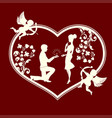 silhouette of a heart with cupids and a loving vector image