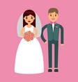 wedding couple beautiful model girl in white dress vector image
